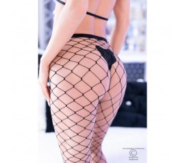 2 pairs 2 colors Black and Black/Silver(Lurex) big hole Fishnet Pantyhouse