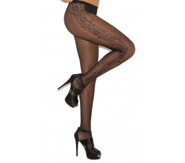 Dot Net Pantyhose with Flower Side Panel