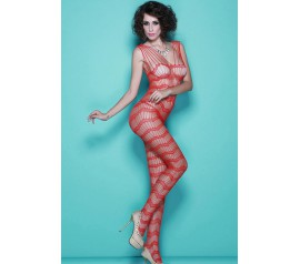 Red Open Crotch Scalloped Strings Body Stocking
